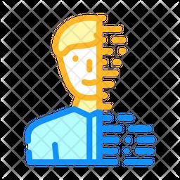 Digital Portrait Colored Outline Icon