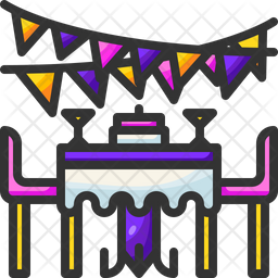 Dinner Table Colored Outline Icon