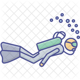 Diving Colored Outline Icon