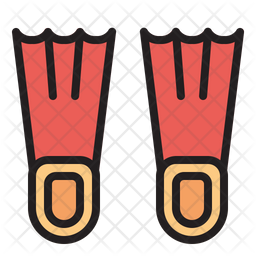 Diving Flipper Colored Outline Icon