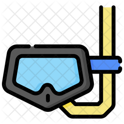 Diving Glasses Colored Outline Icon
