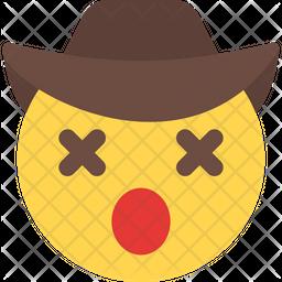 Dizzy Cowboy Flat  Emoji Icon