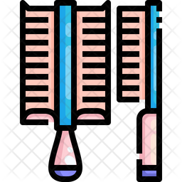 Dog Brush Colored Outline Icon