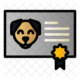 Dog Certificate Colored Outline Icon