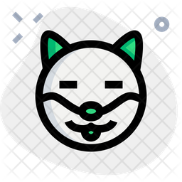 Dog Closed Eyes Colored Outline  Emoji Icon
