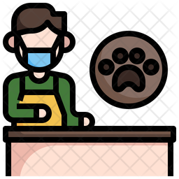 Dog Groomer Colored Outline Icon