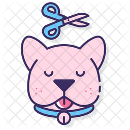 Dog Grooming Colored Outline Icon