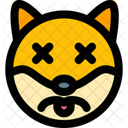 Dog Sad Death Colored Outline  Emoji Icon