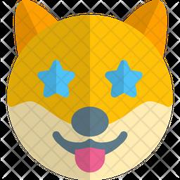 Dog Star Struck Gradient  Emoji Icon