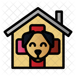 Dog Veterinary Colored Outline Icon