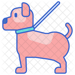 Dog Walking Colored Outline Icon