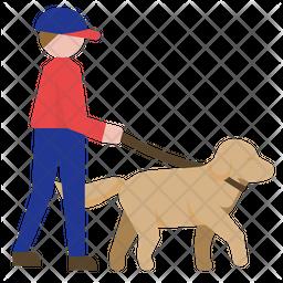 Dog Walking Flat Icon