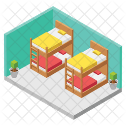 Double Deck Bed Isometric Icon