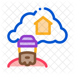 Dreaming About Home Colored Outline Icon