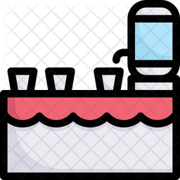 Drink Table Colored Outline Icon