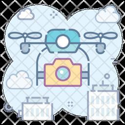 Drone Camera Colored Outline Icon