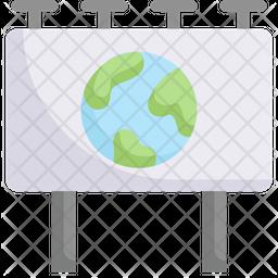 Earth On Billboard Icon