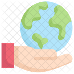 Earth On Hand Flat Icon