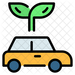 Eco Car Colored Outline Icon