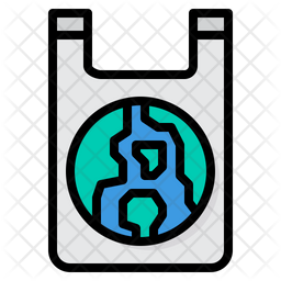 Eco Friendly Plastic Bag Colored Outline Icon