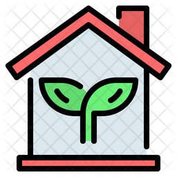Eco Home Colored Outline Icon