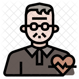 Elderly health issue Colored Outline Icon