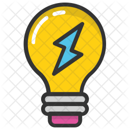 Electric Bulb Colored Outline Icon
