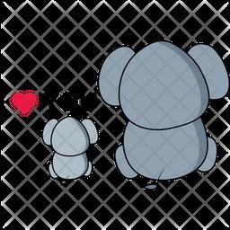 Elephant Family Love Icon