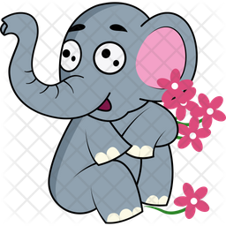Elephant Playing With Flowers Icon