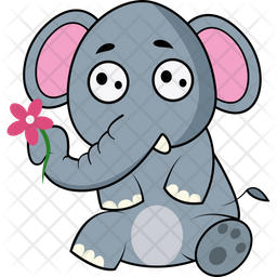 Elephant Taking Flower With Trunk Icon