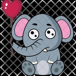 Elephant With Balloon Icon