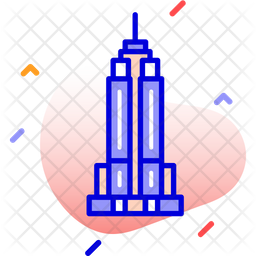Empire State Building Colored Outline Icon