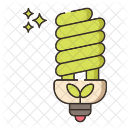 Energy Efficiency Lightning Colored Outline Icon