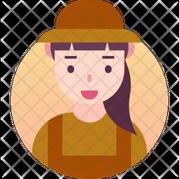 Farmer girl Gradient Icon
