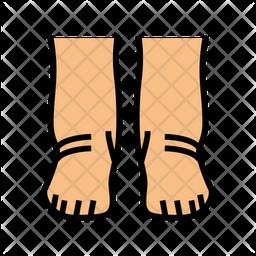 Feet Edema Colored Outline Icon