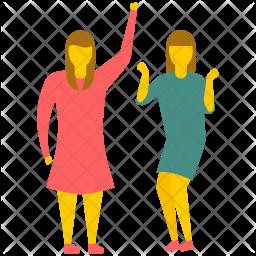 Female Friends Excitement Icon