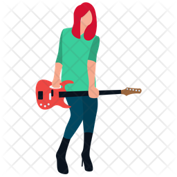 Female Playing Guitar Icon