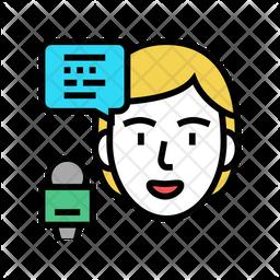 Female Speaker Colored Outline Icon
