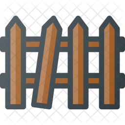 Fence Colored Outline Icon