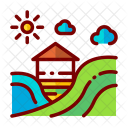 Fields Colored Outline Icon