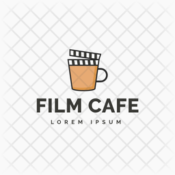 Film Cafe Colored Outline  Logo Icon