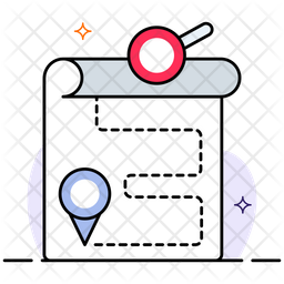 Finding Location Colored Outline Icon