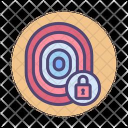Fingerprint Lock Colored Outline Icon