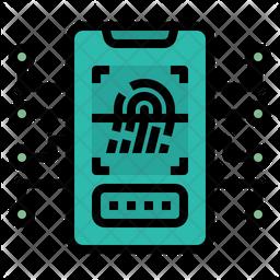 Fingerprint Scanner Colored Outline Icon
