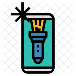 Flashlight Colored Outline Icon