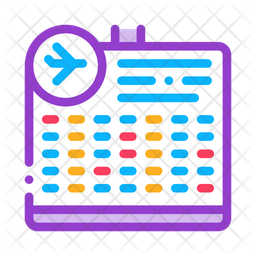 Flight Information Board Colored Outline Icon