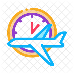 Flight Time Colored Outline Icon