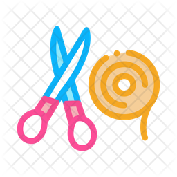 Scissor And Ribbon Icon