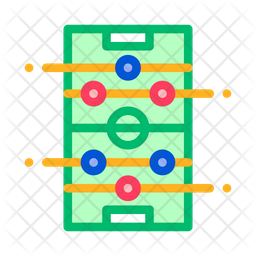 Foosball Colored Outline Icon