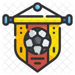 Football Pennant Colored Outline Icon